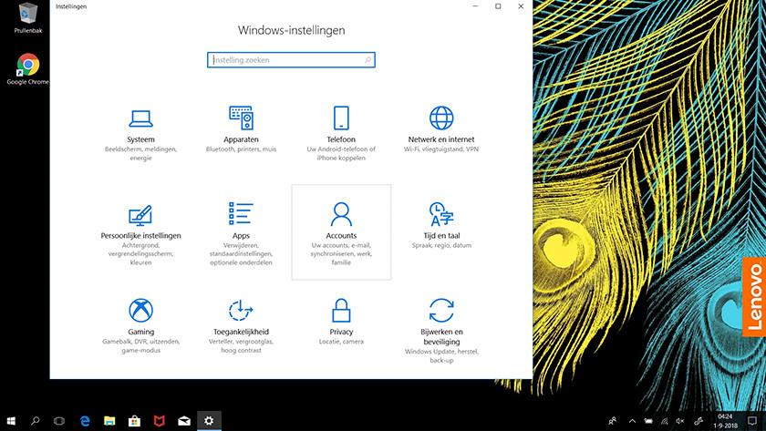 The settings menu in Windows 10.