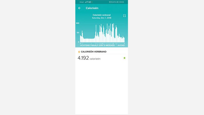 Fitbit Charge 3 app calorieën