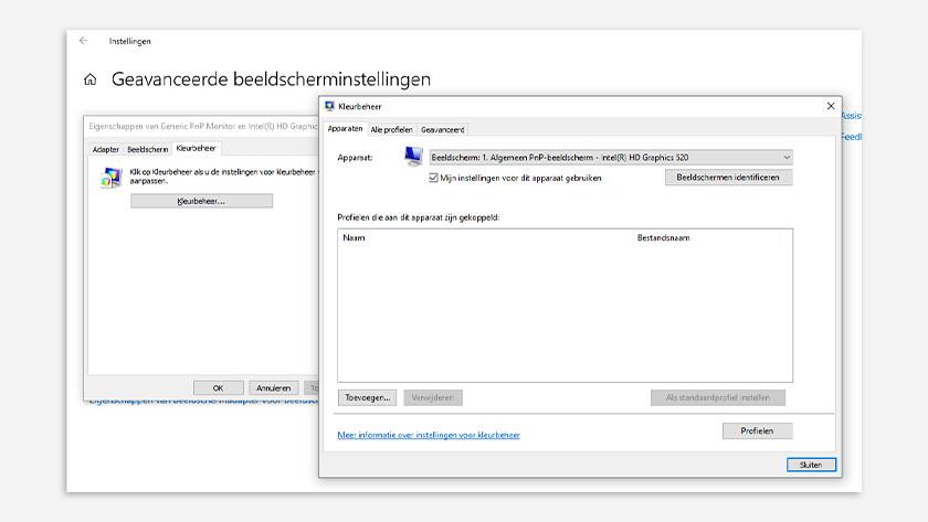 Kleurprofiel veranderen in windows 10 settings