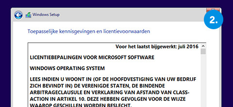 Windows installeren stap 2