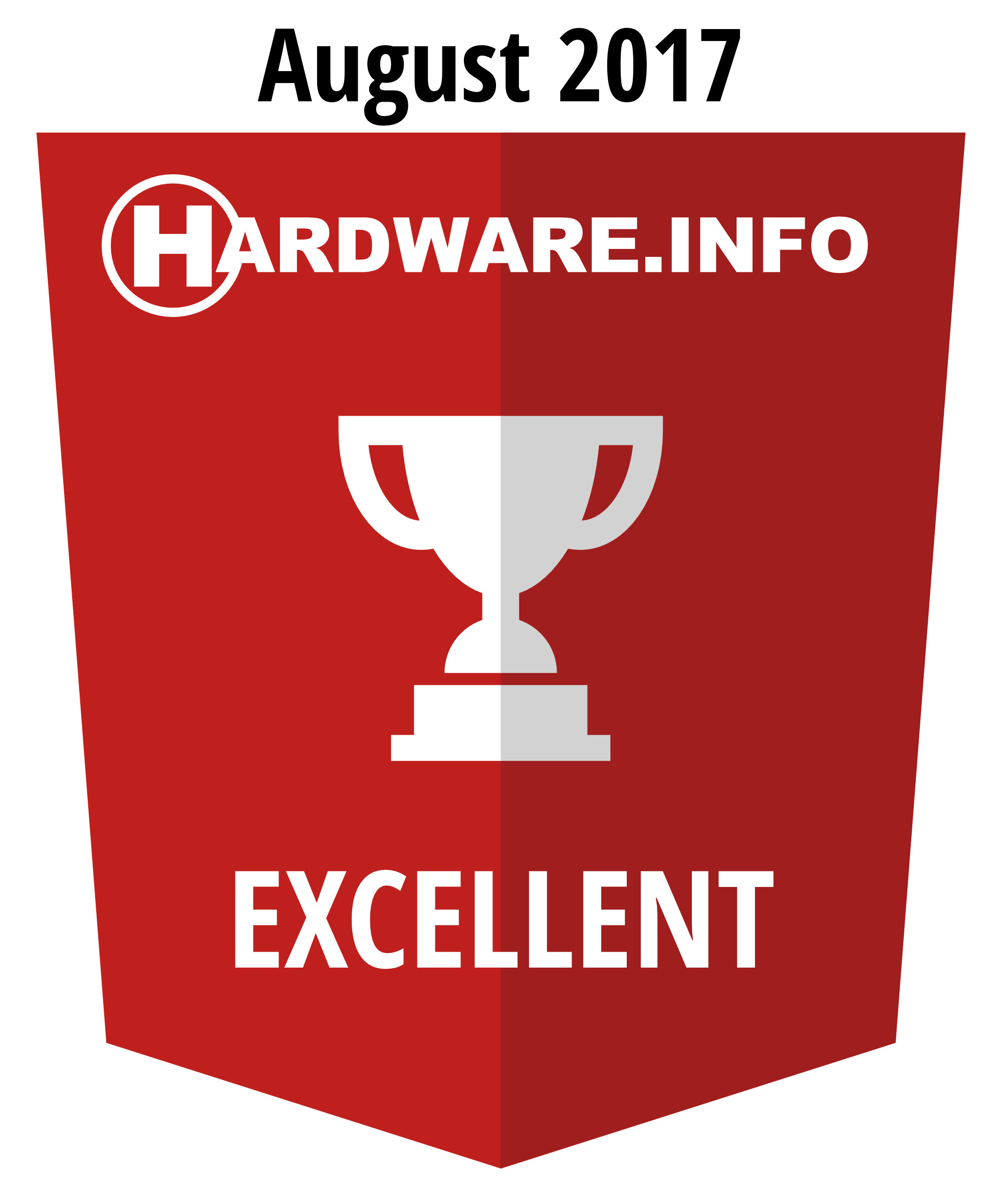 Hardware.info Excellent award 08-2017