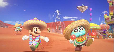 Super Mario Odyssey kleurrijke spelwereld