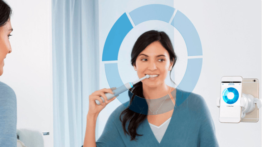 Brushing with the Oral-B Genius toothbrush