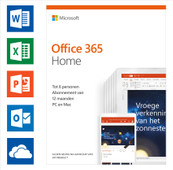 Microsoft Office 365 Home Abonnement 1 jaar NL