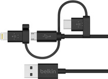 Belkin 3 in 1 Micro-USB/Lightning/USB-C kabel Zwart 1.2m