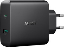 Aukey Usb A + Usb C Home Charger with 2 Ports 3A Power Delivery Black