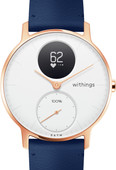 Withings Steel HR (36mm) Rose Goud Blauw Leer
