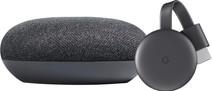 Google Chromecast V3 + Google Home Mini Grijs