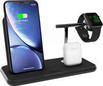 ZENS Wireless Charger 10W with Stand and AirPods Dock + Watch Stand Black