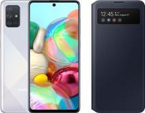 Samsung Galaxy A71 Silver + Samsung S View Wallet Cover Black