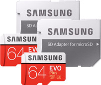 Samsung microSDXC EVO+ 64 GB 100MB/S CL 10 + SD Adapter Duo Pack