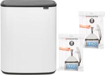 Brabantia Bo Touch Bin 60L White + Trash Bags (60 units)