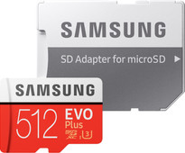 Samsung microSDXC EVO+ 512GB 100MB/s CL 10 + SD Adapter