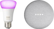 Google Nest Mini White + Philips Hue White and Color E27 Single Light Bluetooth