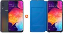 Samsung Galaxy A50 Zwart + Samsung Wallet Book Case Zwart/Blauw