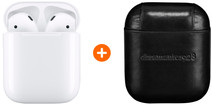 Apple AirPods 2 met oplaadcase +  AirPods Leren Hoesje