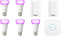 Philips Hue White & Color Starter 5-pack E27 + 2 dimmers