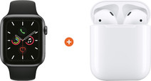 Apple Watch Series 5 44mm Space Gray Black Sport Band + Apple AirPods 2