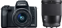 Canon EOS M50 Zwart + 15-45mm IS STM + Sigma 16mm f/1.4 DC DN