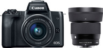 Canon EOS M50 Zwart + 15-45mm IS STM + Sigma 56mm f/1.4 DC DN