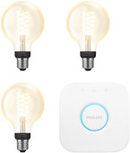 Philips Hue Filament Light White Globe E27 Bluetooth Starter 3-pack