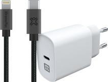 XtremeMac Oplader 20W Power Delivery Wit + Usb C naar Lightning Kabel 2m Grijs