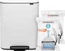 Brabantia Bo Pedal Bin 2x 30L White + Trash Bags (80 units)