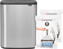 Brabantia Bo Touch Bin 60L Steel Fingerprint Proof + Trash Bags (60 units)