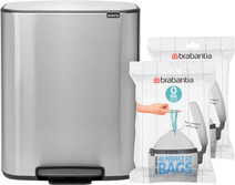 Brabantia Bo Pedal Bin 2 x 30L Stainless Steel fingerprint-proof + Trash Bags (80 units)