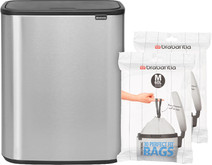 Brabantia Bo Touch Bin 60 Liter Staal Vingerafdruk Proof + Vuilniszakken (60 stuks)