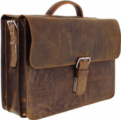 Plevier Vintage Cowhide Leather Briefcase 17.3 inches Brown