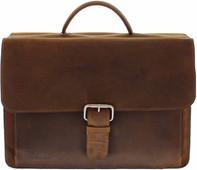 "Plover Vintage Cowhide Leather Briefcase 15.6 ""Brown"