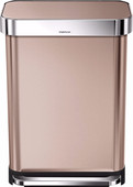 Simplehuman Rectangular Liner Pocket 55 Liters Stainless Steel Rose Gold