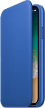 Apple iPhone X Leather Folio Book Case Electric Blue