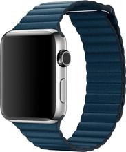 Apple Watch 42mm Lederen Horlogeband Blauw Large