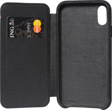 Decoded Leather Slim Wallet iPhone Xr Book Case Zwart