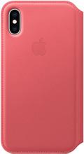 Apple iPhone XS Leather Folio Book Pioen Roze