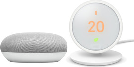 Nest Thermostat E + Google Home Mini Wit