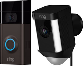 Ring Video Deurbel 2 + Ring Spotlight Cam Wired Zwart