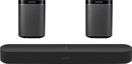 SONOS 5.0 BEAM + Play:1 (2x) Zwart