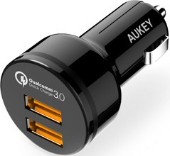 Aukey Autolader Dual USB 4.2A Quick Charge Micro usb Zwart