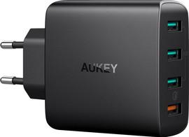 Aukey Usb A Thuislader met 4 Poorten 4,8A Quick Charge Zwart