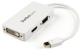Startech A/V reisadapter Mini DP naar VGA / DVI / HDMI Wit