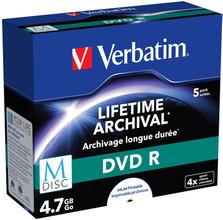 VERBATIM M-DISC DVD+R 4x 4.7GB IJ PRINATBLE 5 PACK JC