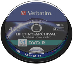 VERBATIM M-DISC DVD+R 4x 4.7GB IJ PRINATBLE 10 PACK SP