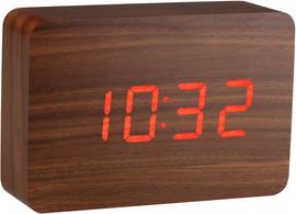 Gingko Brick Click Clock Walnoot/Rood