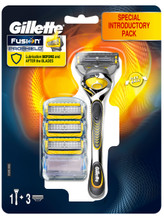 Gillette Fusion ProShield Scheermes geel + 3 extra mesjes