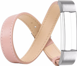 Just in Case Double Tour Lederen Watchband Fitbit Alta Pink