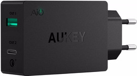 Aukey PA-Y2 Quick Charge 3.0 Oplader USB + USB-C Zwart