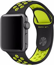 Apple Watch 42mm Polsband Nike Sport Zwart/Volt